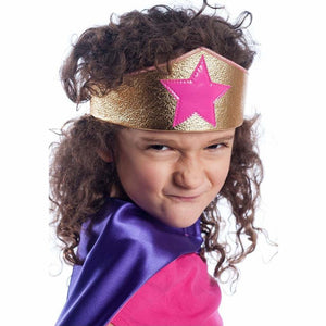 girl wearing gold and pink superhero crown