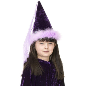 girl wearing purple princess hat with boa trim