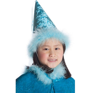 girl wearing teal princess hat with boa trim