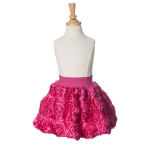 girls fuchsia ribbon rose bubble skirt