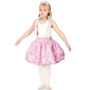 girl wearing pink ribbon rose dress up party skirt
