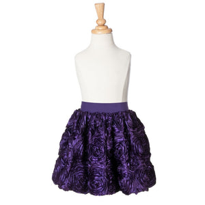 girls dark purple ribbon rose party skirt