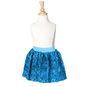 girls teal ribbon rose party skirt