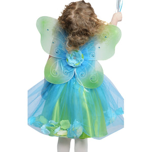 child dressed up in teal fairy dress with blue and green fairy wings