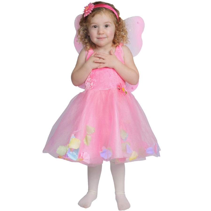 child dressed up in fairy dress with pink tulle and flower petal skirt