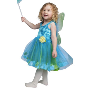 child dressed up in turquoise fairy dress and wings holding a fairy wand
