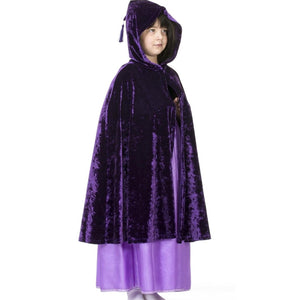 girl wearing purple velvet hooded cape with tassel hood