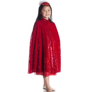 girl wearing red velvet hooded cape