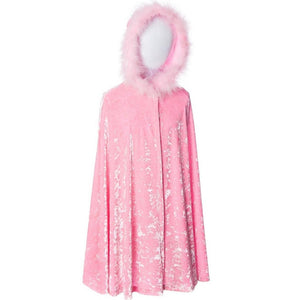 childs pink velvet cape with fur trimmed hood