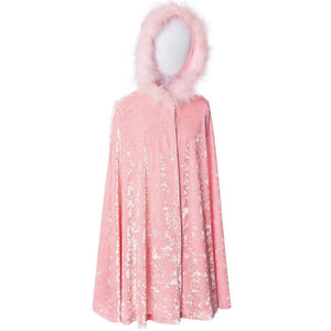 childs light pink velvet cape with fur trimmed hood