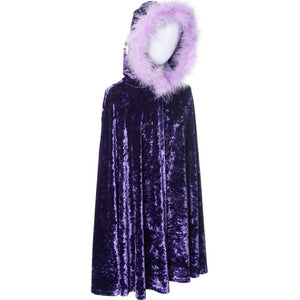 childs purple velvet cape with fur trimmed hood