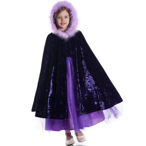 girl wearing purple velvet cape with fur trimmed hood