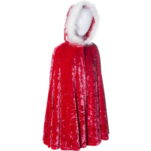 childs red velvet cape with fur trimmed hood