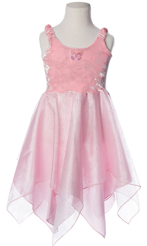 Fairy Dancer Dress with light pink velvet bodice and scarf style skirt