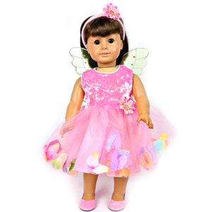 doll fairy dress pink with doll fairy wings