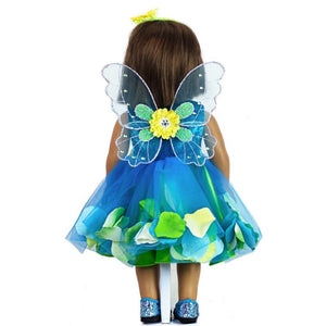 doll fairy dress in teal with doll fairy wings and shoes back view