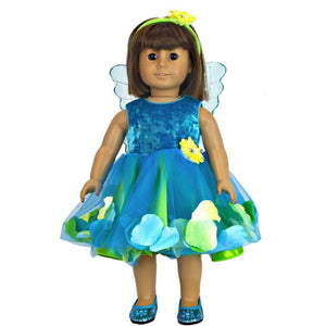 doll fairy dress in teal with doll fairy wings and shoes