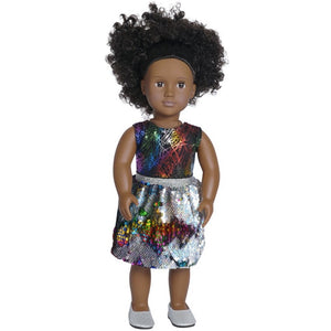 doll flippy sequin skirt set with doll shoes