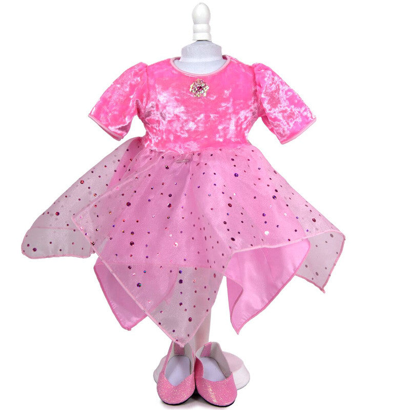 doll fairy dancer dress in pink with matching shoes