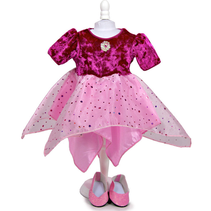 doll dancer dress in fuchsia with matching shoes
