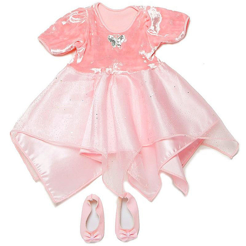 doll dancer dress in light pink with matching shoes