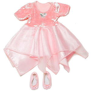 doll fairy dancer dress in light pink with matching shoes