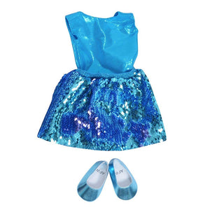 18 inch doll mermaid blue flippy sequin dress and shoe set