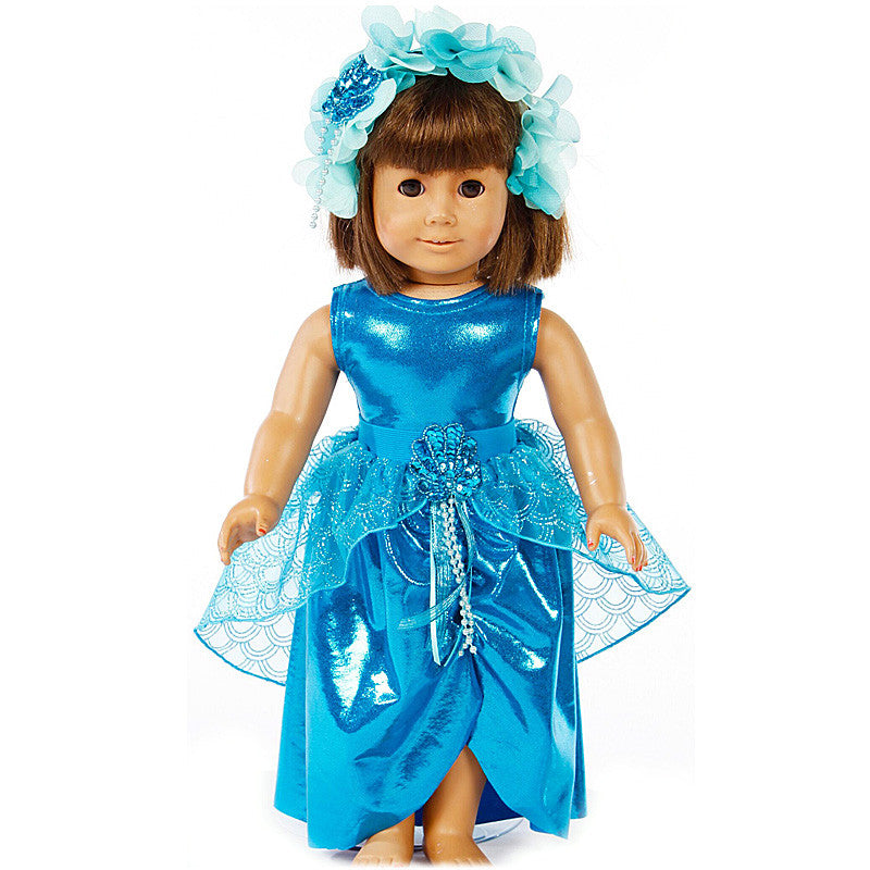18 inch doll wearing turquoise mermaid fairy dress and matching headband