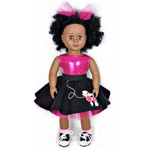 18 inch doll wearing poodle skirt and doll saddle shoes