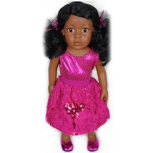 doll fuchsia sequin posy bubble skirt set for 18 inch doll with doll shoes