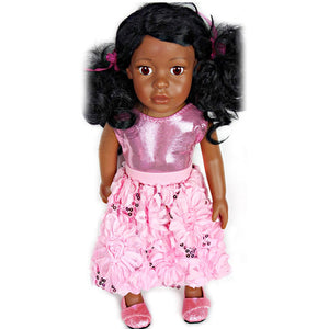 doll pink sequin posy bubble skirt set for 18 inch doll with doll shoes