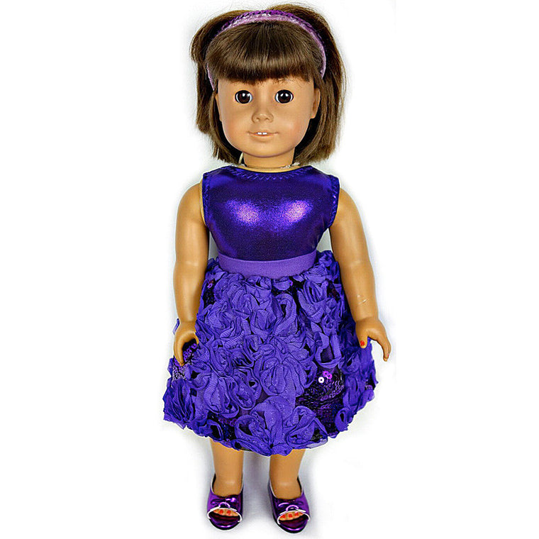 doll purple sequin posy bubble skirt set for 18 inch doll with doll shoes