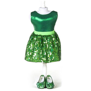 doll green sequin skirt set for 18 inch doll with doll shoes