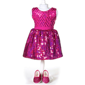 doll hot pink sequin skirt set for 18 inch doll