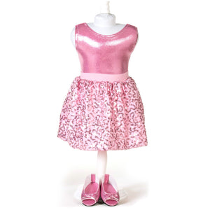 doll pink sequin skirt set for 18 inch doll with doll shoes