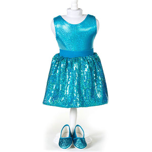 doll teal sequin skirt set for 18 inch doll