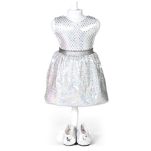 doll white sequin skirt set for 18 inch doll with matching shoes
