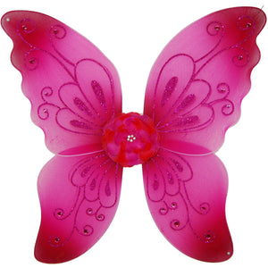 girls fuchsia fairy wings with flower