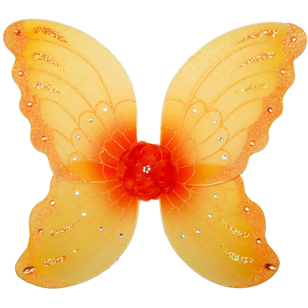 girls yellow orange fairy wings with flower