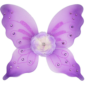 girls purple fairy wings with flower