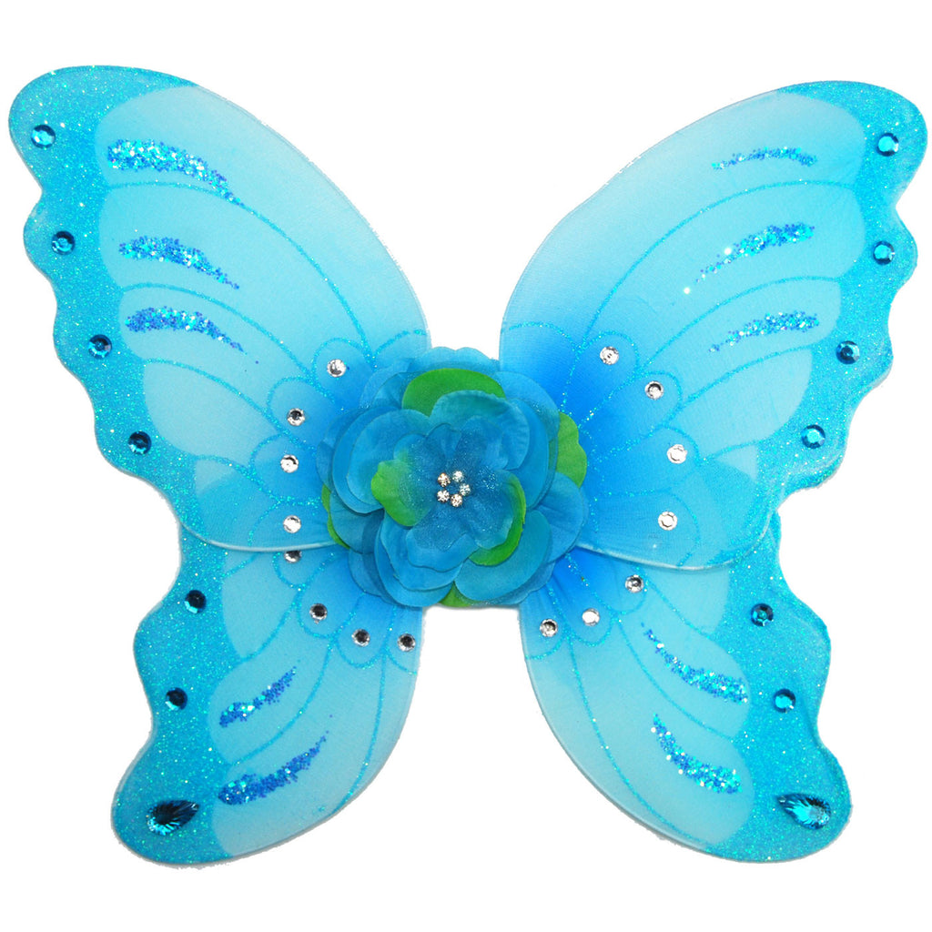 girls turquoise fairy wings with flower