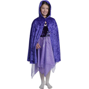girl wearing purple velvet cape over purple fairy dress