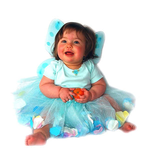 infant wearing fairy wings and aqua tulle tutu with flower petals