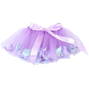 purple tulle fairy tutu with flower petals and bow
