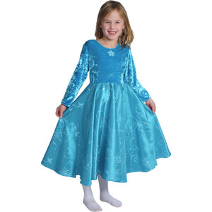girl wearing teal velvet and taffeta princess dress