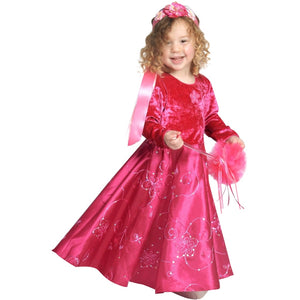 girl wearing fuchsia fairy princess dress and flower headband and holding wand