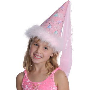 fairy princess hat with dancer print and veil and boa details