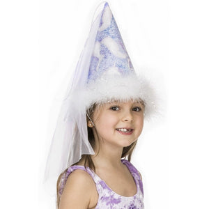 fairy princess hat with unicorn print and veil and boa details