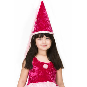 girl wearing fuchsia velvet princess hat