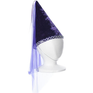 childs purple velvet princess cone hat